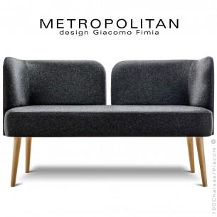 Banquette design METROPOLITAN, piétement hêtre naturel, habillage 100% laine, couleur noir.