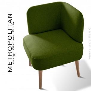 Fauteuil d'angle design METROPOLITAN, piétement hêtre naturel, habillage 100% laine, couleur vert kaki.