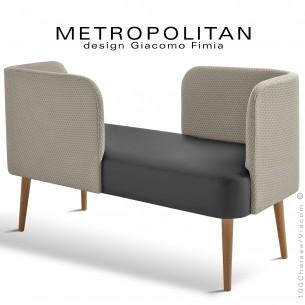 Banquette design conversation METROPOLITAN, piétement bois vernis naturel, assise cuir noir, dossier tissu Bubble crème.