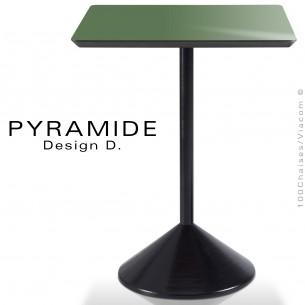 Table PYRAMIDE pour CHR., piétement fonte d'aluminium peint noir, plateau stratifié couleur vert épicéa.