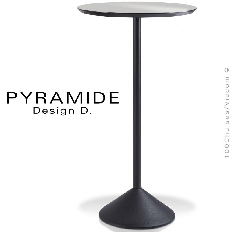 Table mange debout PYRAMIDE pour CHR., piétement fonte d'aluminium peint noir, plateau stratifié couleur argent.