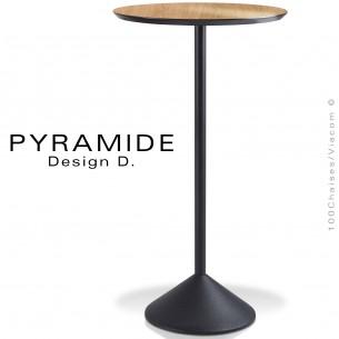 Table mange debout PYRAMIDE pour CHR., piétement fonte d'aluminium peint noir, plateau stratifié aspect bois chêne clair.