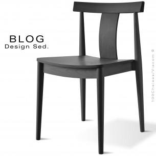 Chaise bois BLOG, structure bois de hêtre vernis teinté noir.