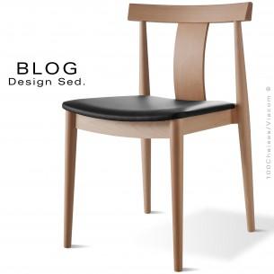 Chaise bois BLOG, structure bois de hêtre vernis naturel, assise cuir noir.
