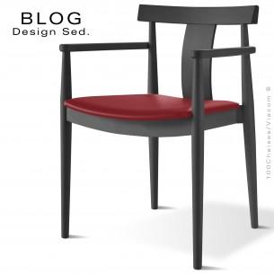 Fauteuil bois BLOG, structure bois de hêtre teinté noir, assise garnie cuir rouge lit de vin.