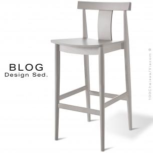 Tabouret de bar bois BLOG, structure hêtre finition blanchi, pour CHR.