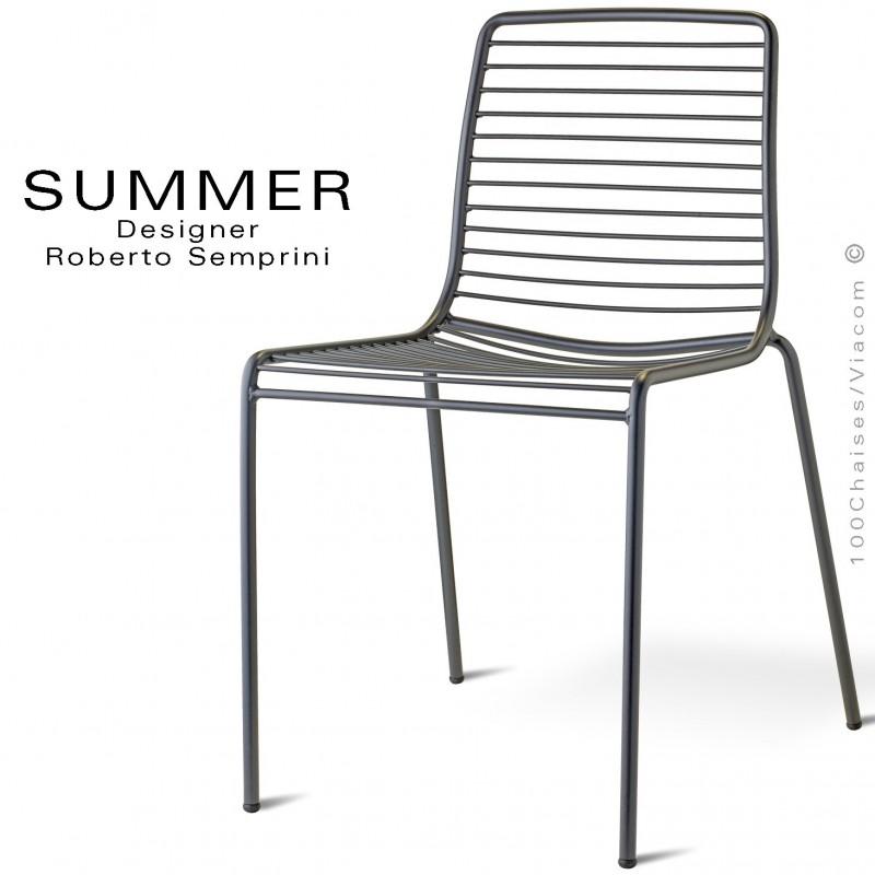 Chaise SUMMER, pour terrasse et extérieur, structure acier peint anthracite - Lot de 2 pièces.