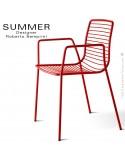 Fauteuil design SUMMER, pour terrasse et extérieur, structure acier peint couleur rouge - Lot de 2 pièces.