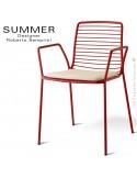 Fauteuil design SUMMER, pour terrasse et extérieur, structure acier peint couleur rouge avec coussin d'assise - Lot de 2 pièces.