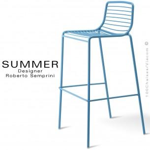Tabouret de bar design SUMMER, pour terrasse et extérieur, structure acier peint couleur bleu.