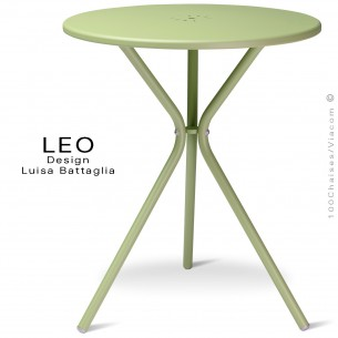 Table ronde design LEO, pour terrasse et extérieur, finition peinture vert - Lot de 2 pièces.