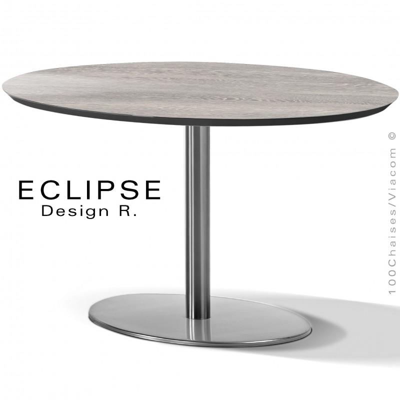 Table ovale ECLIPSE sur pied central inox, plateau stratifié HPL wengé blanc cérusé, chant plateau couleur noir.