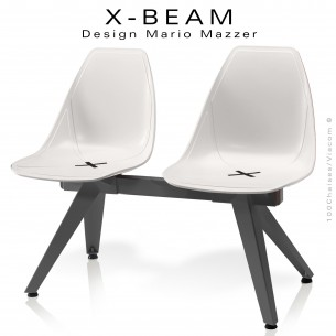 Banc design X-BEAM, structure acier peint anthracite, assise coque plastique blanc avec incrustation bois.