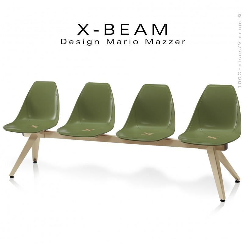 Banc design X-BEAM, structure acier peint sable, assise coque plastique couleur kaki avec incrustation bois.