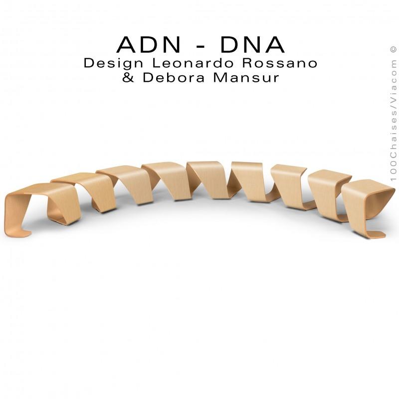 Banc d'attente courbe 10 places - ADN aux formes hélicoïdales en contreplaqué finition placage chêne naturel.