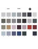 Palette couleur type tissu, gamme Fiord du fabricant KVADRAT, habillage banc d'attente 7 places - ADN.