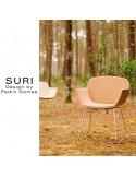 Fauteuil design SURI, piétement luge, dossier placage essence bois naturel, assise aspect cuir SOTEGA.