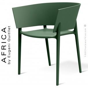 Fauteuil d'extérieur ou terrasse AFRICA, structure et assise coque plastique vert Pickle - Lot de 4 pièces.