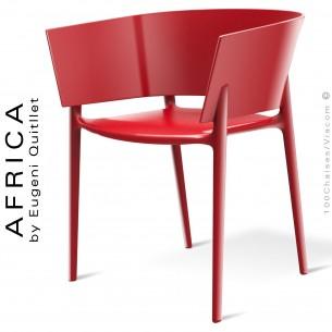 Fauteuil d'aspect laquer pour extérieur ou terrasse AFRICA, structure et assise coque plastique rouge - Lot de 4 pièces.