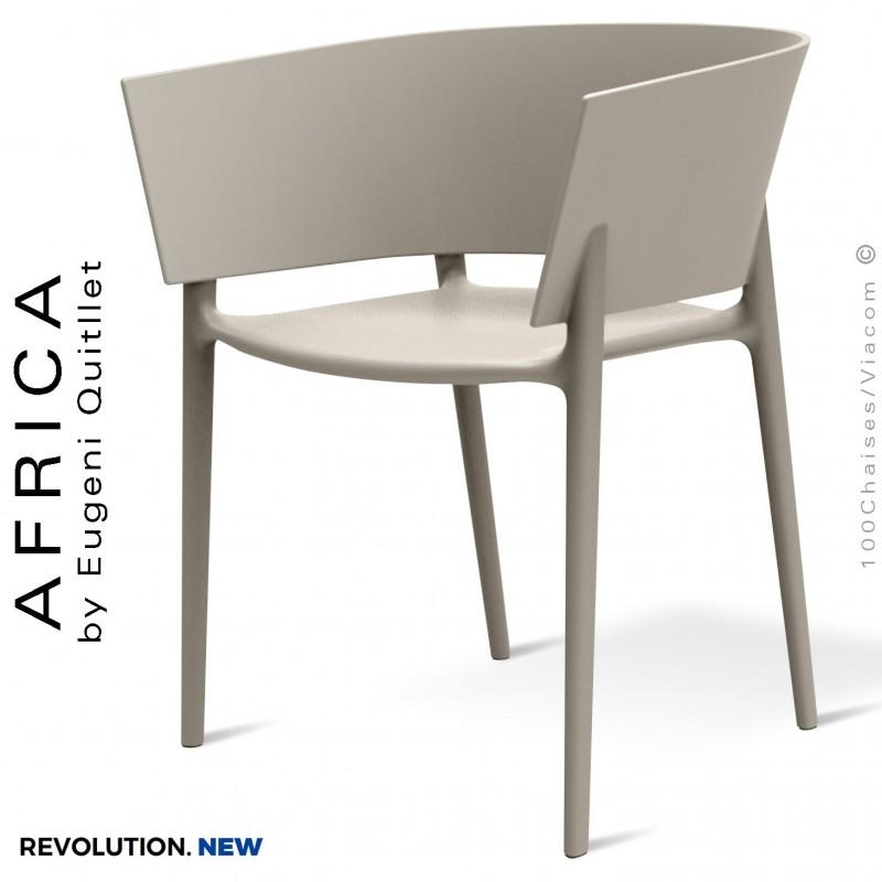 Fauteuil d'extérieur ou terrasse AFRICA, structure et assise plastique recyclé CALA - Lot de 4 pièces.