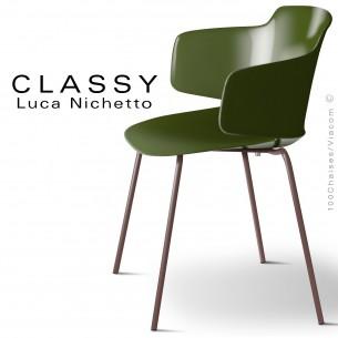 Fauteuil CLASSY, piétement acier peint brun chocolat, coque plastique vert olive.