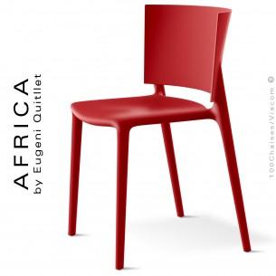 Chaise d'extérieur ou pour terrasse AFRICA, structure et assise coque plastique couleur rouge.