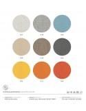 Palette couleur tissu coussin d'assise fauteuil lounge design PASHA en polycarbonate.