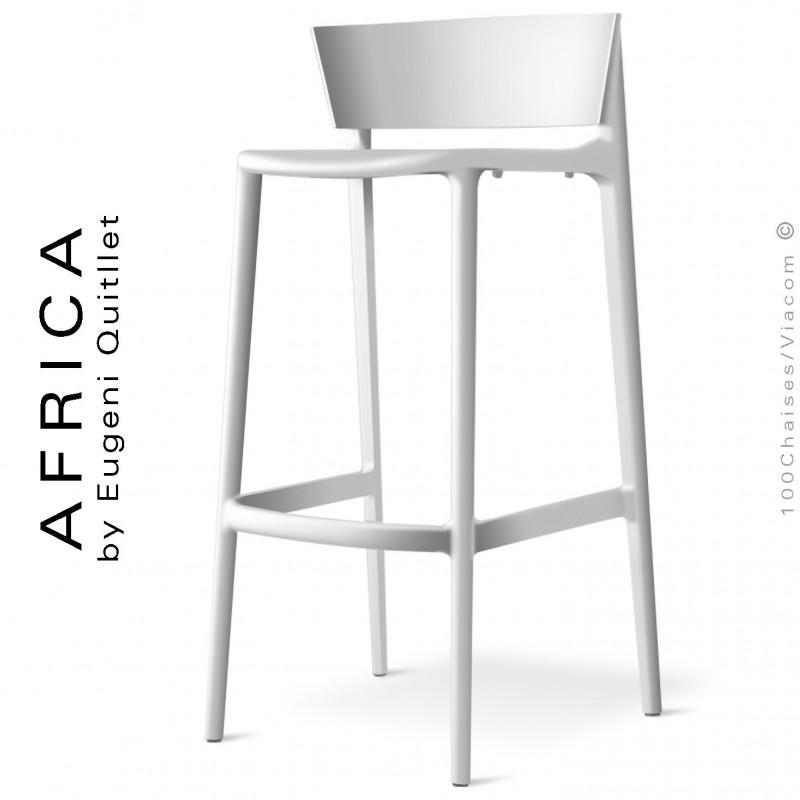 Tabouret de bar d'extérieur ou terrasse AFRICA, structure et assise coque plastique couleur blanc.
