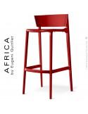 Tabouret de bar d'extérieur ou terrasse AFRICA, structure et assise coque plastique couleur rouge.