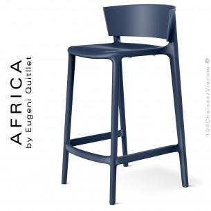 Tabouret de cuisine ou d'extérieur AFRICA, structure et assise coque plastique couleur bleu Navy.