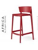 Tabouret de cuisine ou d'extérieur AFRICA, structure et assise coque plastique couleur rouge.