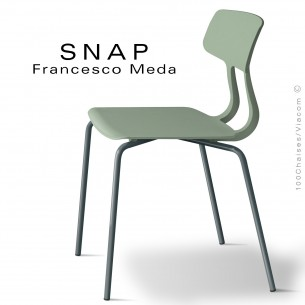 Chaise SNAP, piétement acier peint gris anthracite, assise coque plastique couleur pistache.