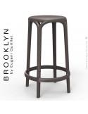 Tabouret de cuisine ou d'extérieur, terrasse BROOKLYN, structure et assise coque plastique couleur bronze.