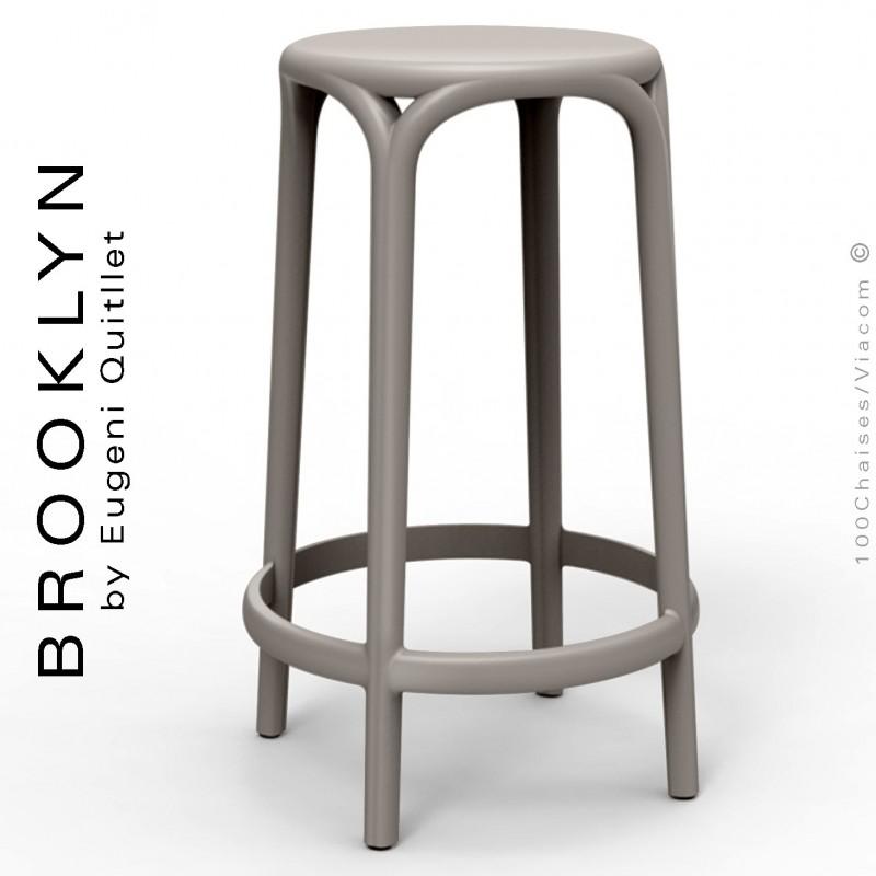 Tabouret de cuisine ou d'extérieur, terrasse BROOKLYN, structure et assise coque plastique couleur gris Tourterelle.