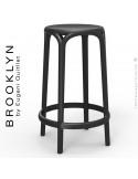 Tabouret de cuisine ou d'extérieur, terrasse BROOKLYN, structure et assise coque plastique couleur noir.