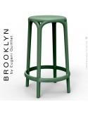 Tabouret de cuisine ou d'extérieur, terrasse BROOKLYN, structure et assise coque plastique couleur vert Pickle.
