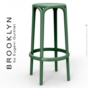 Tabouret de bar d'extérieur ou terrasse BROOKLYN, structure et assise coque plastique couleur vert Pickle.