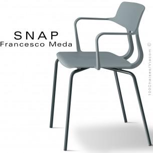 Fauteuil SNAP, piétement acier peint gris anthracite, assise coque plastique couleur gris petit gris.