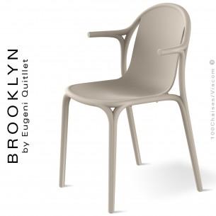 Fauteuil design d'extérieur, terrasse BROOKLYN, structure et assise coque plastique couleur écru.