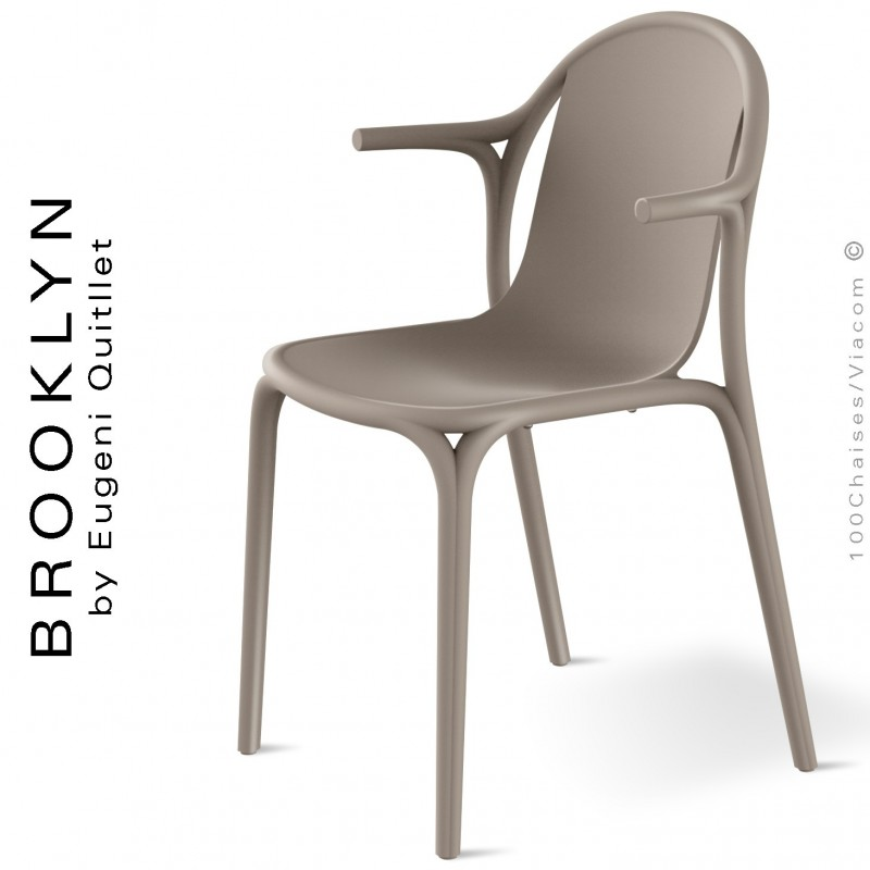 Fauteuil design d'extérieur, terrasse BROOKLYN, structure et assise coque plastique couleur gris Tourterelle.