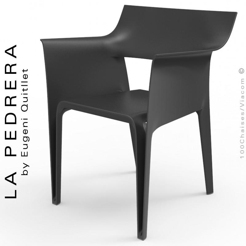 Fauteuil d'extérieur ou terrasse PEDRERA, structure et assise coque plastique noir - Lot de 4 pièces.
