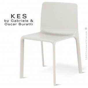 Chaise design KES, pour terrasse et extérieur, structure et assise coque plastique blanche - Lot de 4 pièces.