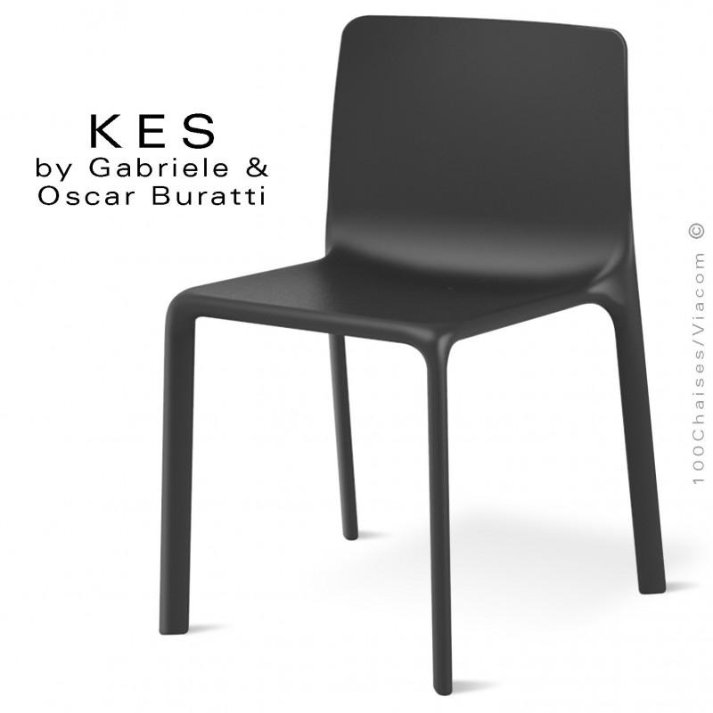 Chaise design KES, pour terrasse et extérieur, structure et assise coque plastique noir.