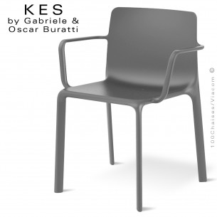 Fauteuil design KES, pour terrasse et extérieur avec accoudoirs, structure et assise plastique couleur gris.