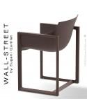 Fauteuil design WALL-STREET, pour extérieur ou terrasse, structure et assise coque plastique bronze.