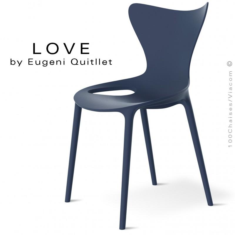 Chaise design NEW, structure et assise coque plastique couleur bleu Navy.