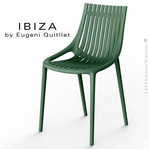 Chaise design IBIZA, structure et assise coque plastique couleur vert Pickle.