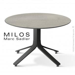 Table basse MILOS, plateau HPL 80 ciment, pied aluminium noir foncé.