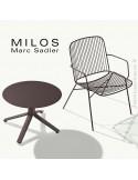 Collection de table MILOS, plateau HPL, pied aluminium peint.