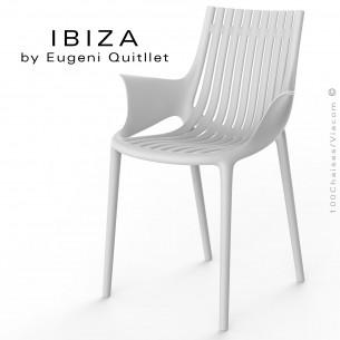 Fauteuil design IBIZA, structure, assise et accoudoirs coque plastique couleur blanche.